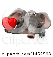 Poster, Art Print Of 3d Elephant Character Holding A Love Heart On A White Background