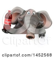 Clipart Graphic Of A 3d Elephant Character Holding A Soda Bottle On A White Background Royalty Free Illustration