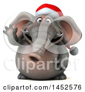 3d Christmas Elephant Character Waving On A White Background