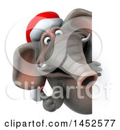 3d Christmas Elephant Character Giving A Thumb Up Around A Sign On A White Background