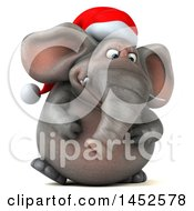 3d Christmas Elephant Character Walking On A White Background