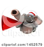 3d Christmas Elephant Character Announcing With A Megaphone On A White Background