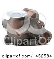Clipart Graphic Of A 3d Elephant Character Holding A Plate On A White Background Royalty Free Illustration