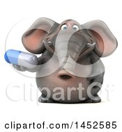 3d Elephant Character Holding A Pill On A White Background