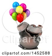 Poster, Art Print Of 3d Elephant Character Holding Balloons On A White Background