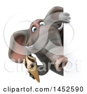 Clipart Graphic Of A 3d Elephant Character Holding An Ice Cream Cone On A White Background Royalty Free Illustration