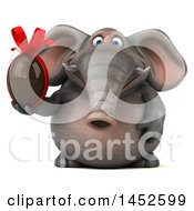 Clipart Graphic Of A 3d Elephant Character Holding A Chocolate Egg On A White Background Royalty Free Illustration