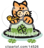 Orange Cat On A Clover St Patricks Day Hat Smoking A Pipe Clipart Illustration by Andy Nortnik