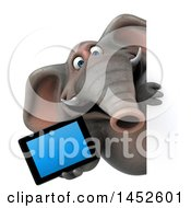 3d Elephant Character Holding A Tablet Computer On A White Background