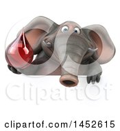Clipart Graphic Of A 3d Elephant Character Holding A Blood Drop On A White Background Royalty Free Illustration
