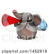 Clipart Graphic Of A 3d Elephant Character Holding A Water Drop On A White Background Royalty Free Illustration by Julos