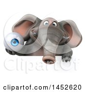Clipart Graphic Of A 3d Elephant Character Holding An Eye Ball On A White Background Royalty Free Illustration by Julos