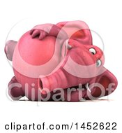 3d Pink Elephant Character Resting On His Side On A White Background