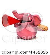 3d Pink Elephant Character Holding A Hot Dog On A White Background
