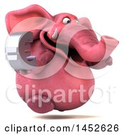 3d Pink Elephant Character Holding A Euro Symbol On A White Background