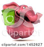 3d Pink Elephant Character Holding A Recycle Bin On A White Background