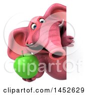 3d Pink Elephant Character Holding A Green Apple On A White Background