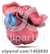 3d Pink Elephant Character Holding A Water Drop On A White Background