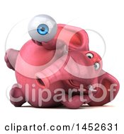 3d Pink Elephant Character Holding An Eye Ball On A White Background