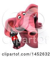 3d Pink Elephant Character Holding A Wine Bottle On A White Background