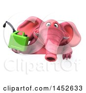 3d Pink Elephant Character Holding A Gas Can On A White Background