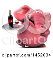 3d Pink Elephant Character Holding A Wine Tray On A White Background
