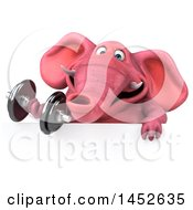 3d Pink Elephant Character Holding A Dumbbell On A White Background