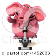 3d Pink Elephant Character Exercising On A Spin Bike On A White Background