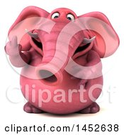 3d Pink Elephant Character Holding Up A Middle Finger On A White Background