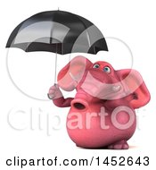 3d Pink Elephant Character On A White Background