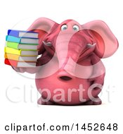 3d Pink Elephant Character Holding A Stack Of Books On A White Background
