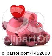 3d Pink Elephant Character Holding A Love Heart On A White Background