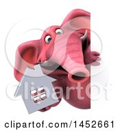 3d Pink Elephant Character Holding A House On A White Background