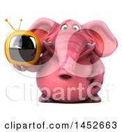 3d Pink Elephant Character Holding A Tv On A White Background