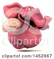 3d Pink Elephant Character Holding A Brain On A White Background