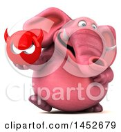 Clipart Graphic Of A 3d Pink Elephant Character Holding A Devil Head On A White Background Royalty Free Illustration