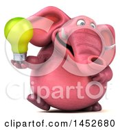 3d Pink Elephant Character Holding A Light Bulb On A White Background