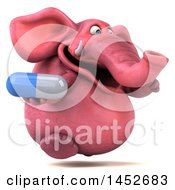 3d Pink Elephant Character Holding A Pill On A White Background