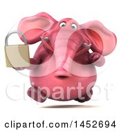 3d Pink Elephant Character Holding A Padlock On A White Background