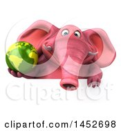 3d Pink Elephant Character Holding A Globe On A White Background
