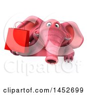 3d Pink Elephant Character Holding A Shopping Bag On A White Background