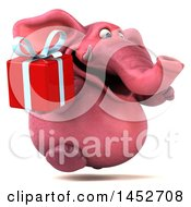 Poster, Art Print Of 3d Pink Elephant Character On A White Background