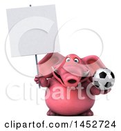 3d Pink Elephant Character Holding A Soccer Ball On A White Background