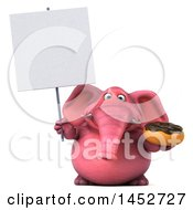 3d Pink Elephant Character Holding A Donut On A White Background