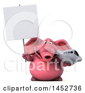 Clipart Graphic Of A 3d Pink Elephant Character Holding A Plane On A White Background Royalty Free Illustration