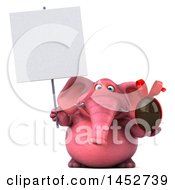 3d Pink Elephant Character Holding A Chocolate Egg On A White Background
