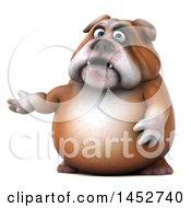 Clipart Of A 3d Bill Bulldog Mascot Presenting On A White Background Royalty Free Illustration