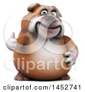 Clipart Of A 3d Bill Bulldog Mascot Giving A Thumb Up On A White Background Royalty Free Illustration by Julos