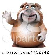 3d Bill Bulldog Mascot Waving On A White Background