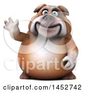 Clipart Of A 3d Bill Bulldog Mascot Waving On A White Background Royalty Free Illustration